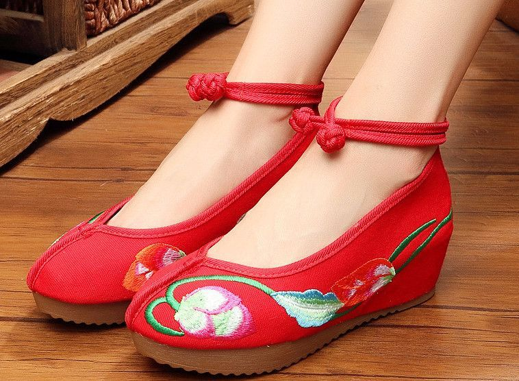 Chinese Embroidered Casual Wedge