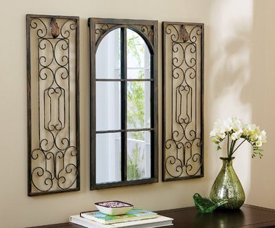 3 Pc Scroll Metal Window Mirror Wall Decor Wrought Iron Wall Decor Iron Wall Decor Frame Wall Decor