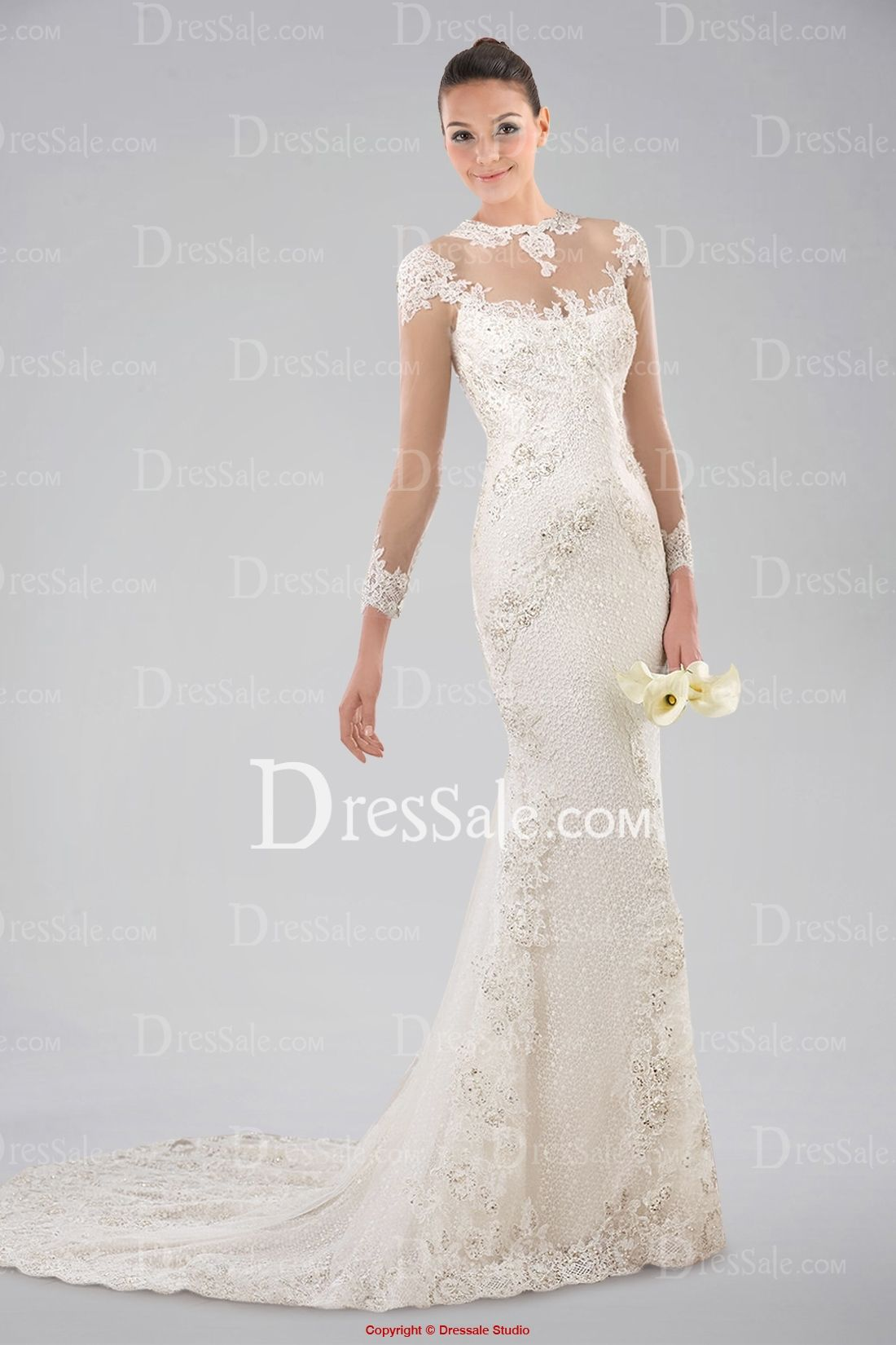 Noble illusion neckline long sleeve wedding dress with lace overlay
