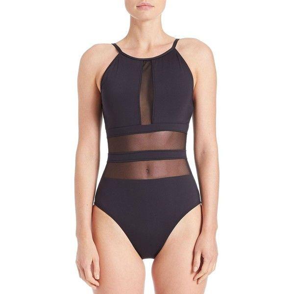 e0185f831e12 La Blanca Mesh Cutout One-Piece Swimsuit ($65) ❤ liked on Polyvore  featuring swimwear, one-piece swimsuits, black, la blanca swimsuit, cut out  swimsuit, ...