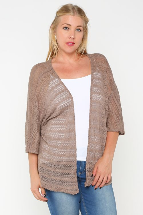 Solid Knitted Cardigan-Plus