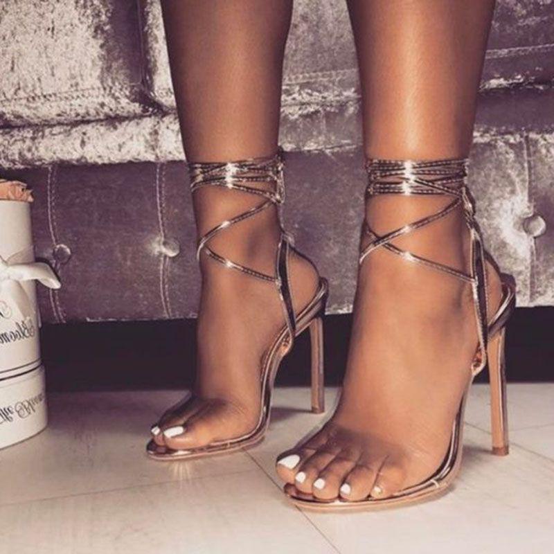 dcb3e248c6a Up Open Toe Gold Stiletto Heel Clear Sandals | Elegant Sandals ...