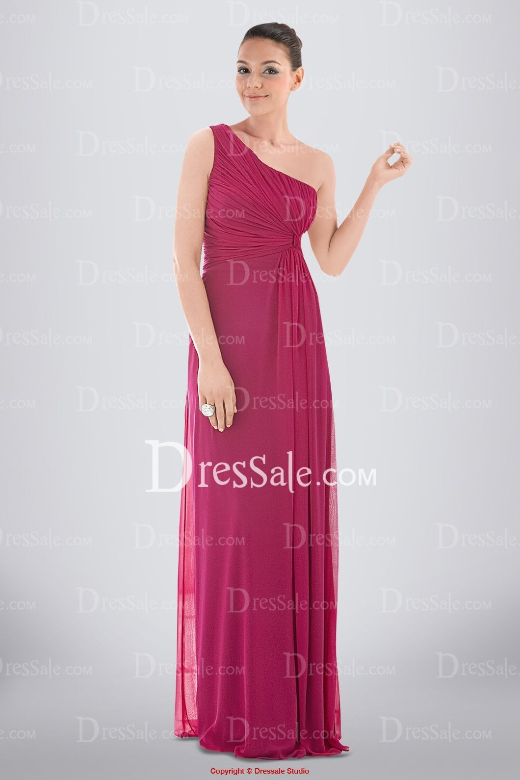 Fantastic One-shoulder Column Chiffon Bridesmaid Dress with Ruched Bodice and Side-drapes