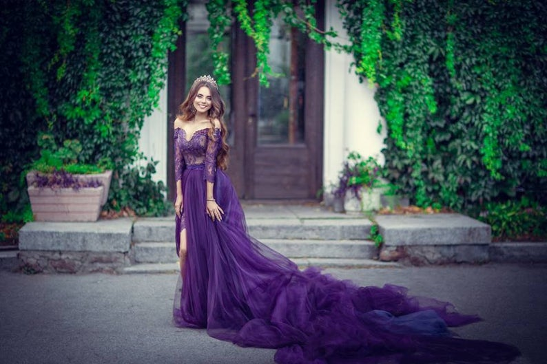 Photo of Purple Lace Dress For Photo Shoots – Dress Very Long Train – Purple Tulle Gown – Photo Prop Dress