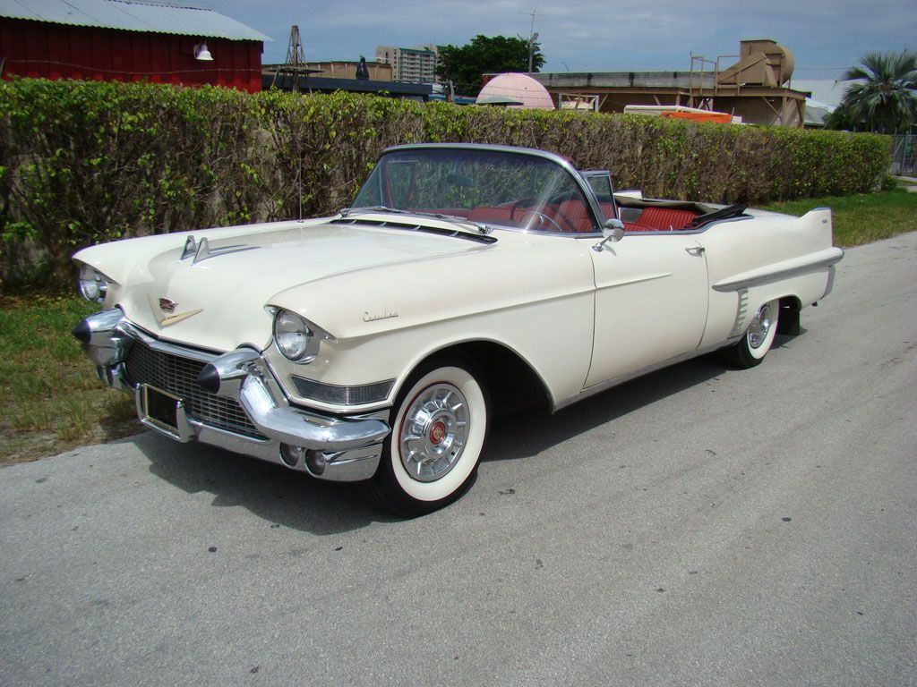 1957 cadillac 62 series white convertible with red interior
