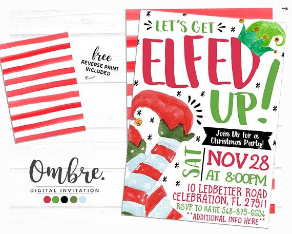 Adult Christmas Party Invitation, Elfed Up Christmas Party Invite