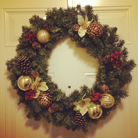 Greenery Christmas Wreath with ornaments by BurlapBoutiqueee, $45.00