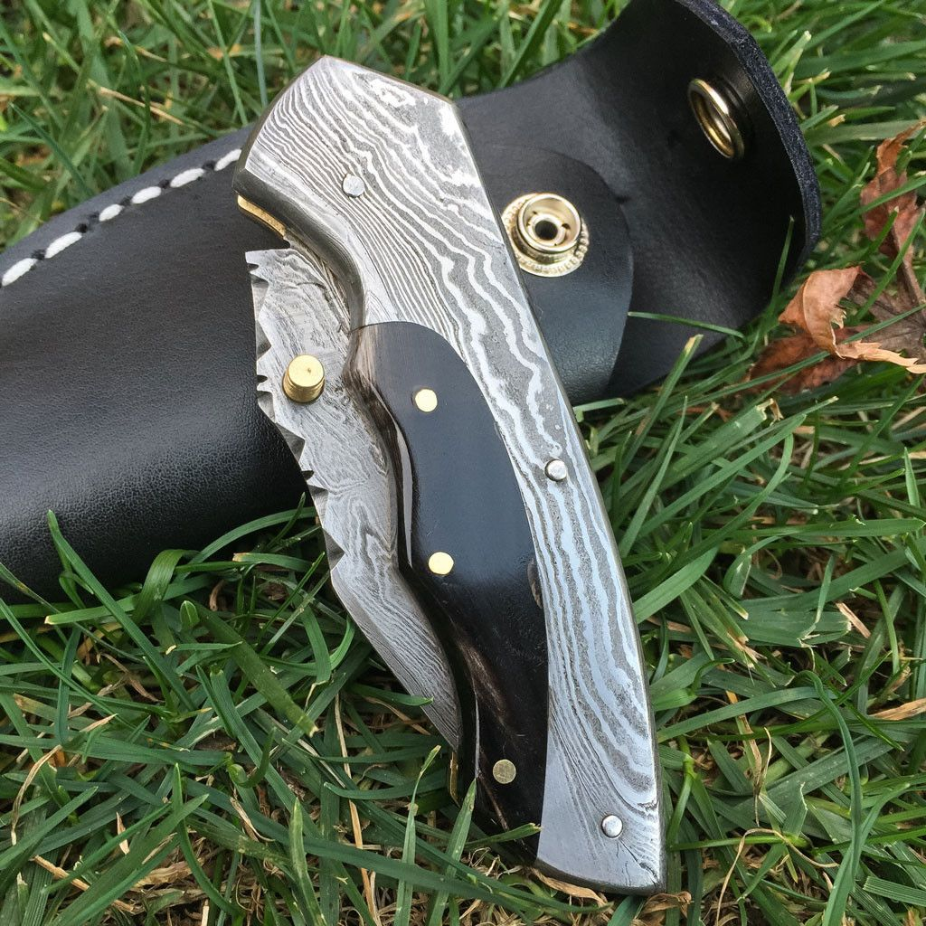 LUCY Handmade Damascus Pocket Folding Knife - Free Shipping anywhere in the USA