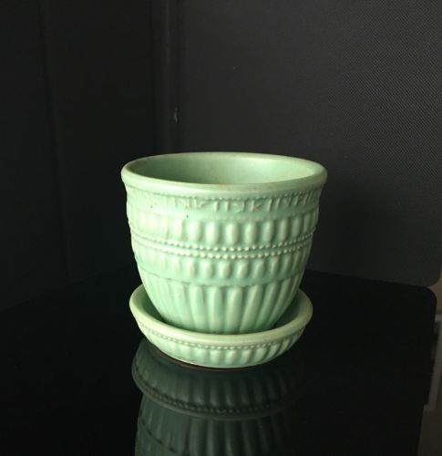 Vintage Mccoy Aqua Beaded Flower Pot Planter With Attached Saucer 5 1 4 Flower Pots Aqua Beads Saucer