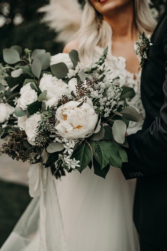 Bohemian Sage Green, Black and Brown Fall Wedding Color Ideas