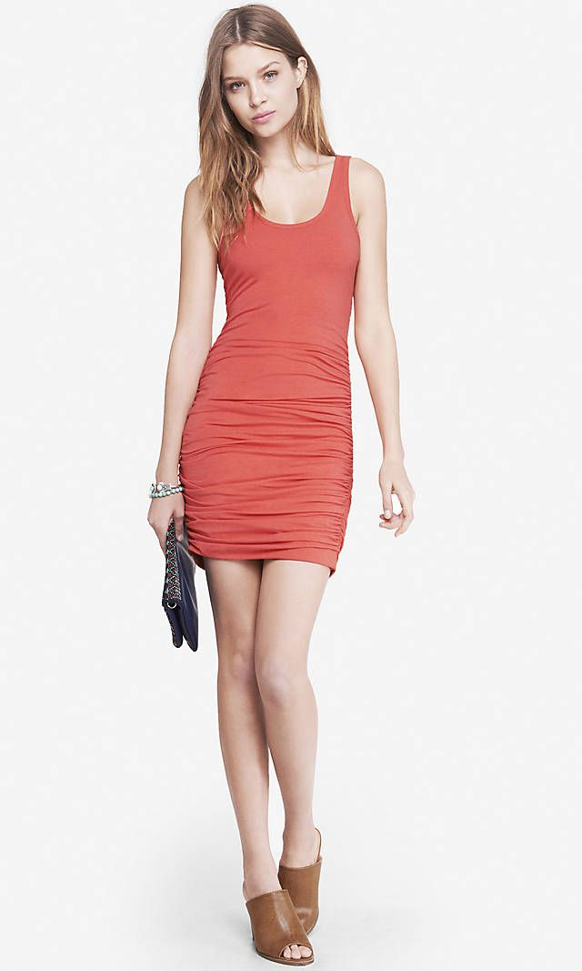 c53f3436fb7 New to my Closet (I bought 4!!)  CORAL RUCHED TANK DRESS