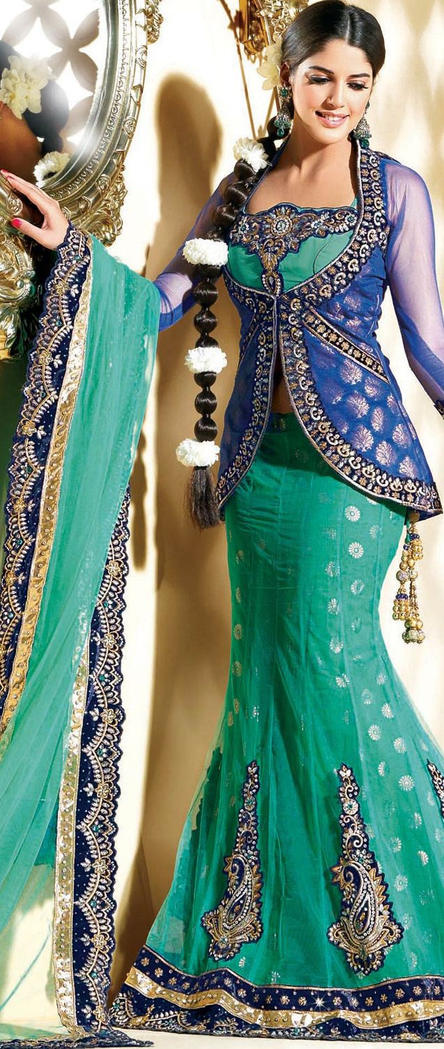 Green net aline lehengacholi with dupatta projects to