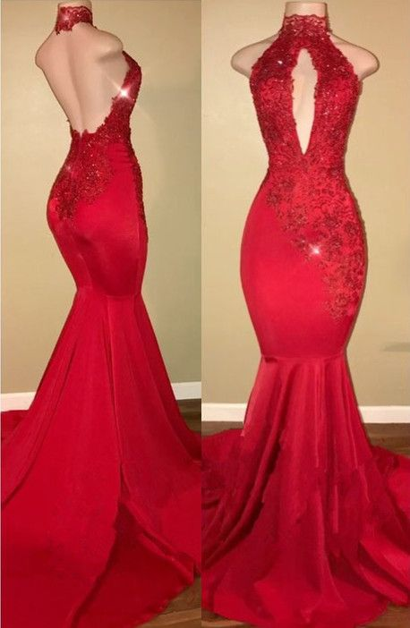 cc4d637e7b4 Sexy Halter Mermaid 2018 Prom Dress Long With Lace Appliques BA7768 ...