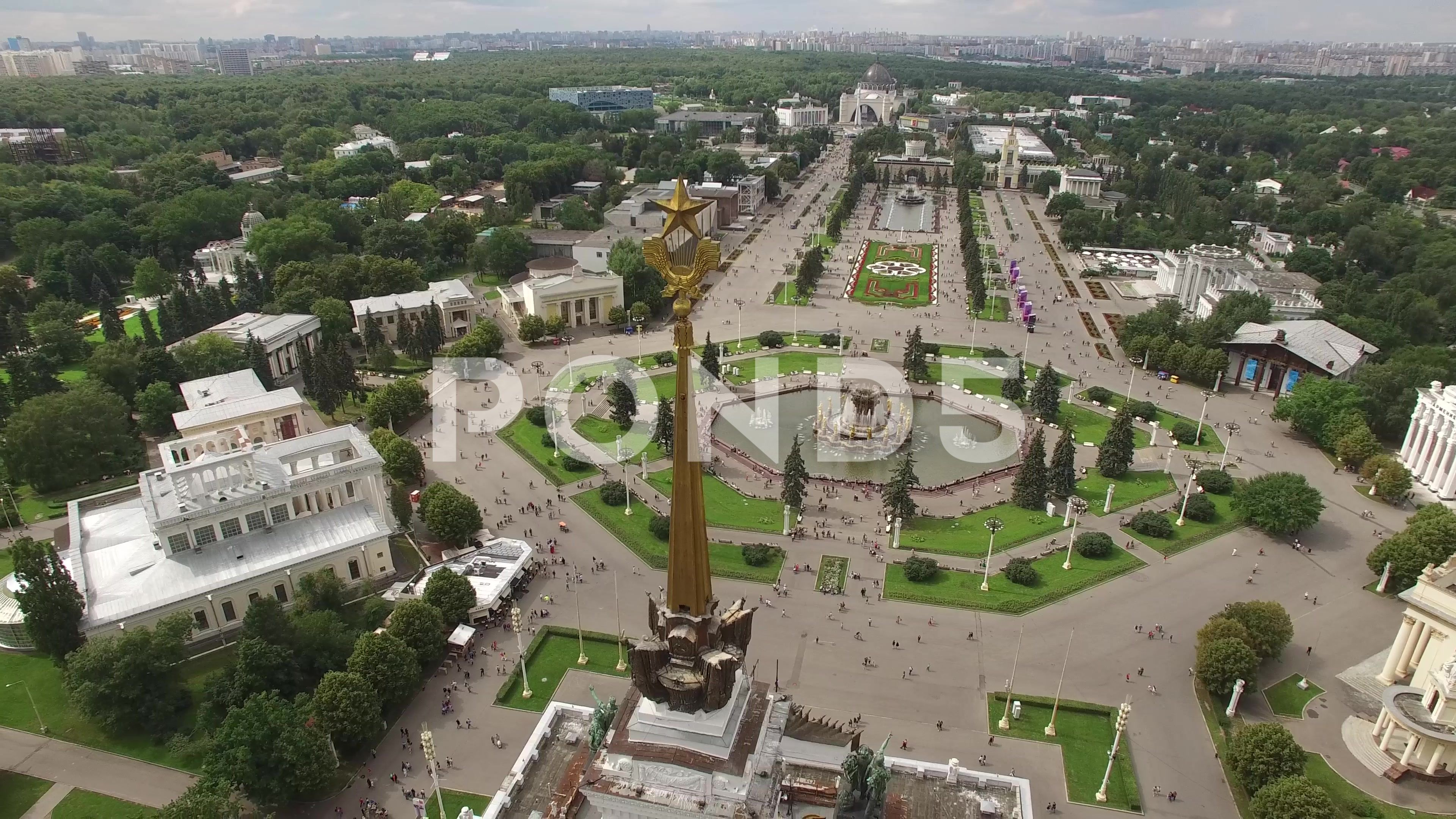 Park Vdnkh In Moscow From Above Central Walk And Fountains Happy People Uniqu Stock Footage Central Walk Moscow Park Park Stock Footage Fountains
