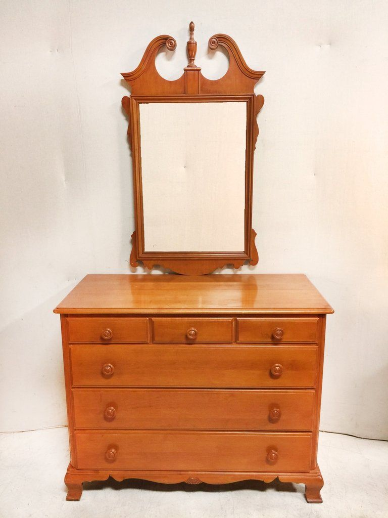 Antique Federal Style 6 Drawer Maple Dresser And Mirror 350