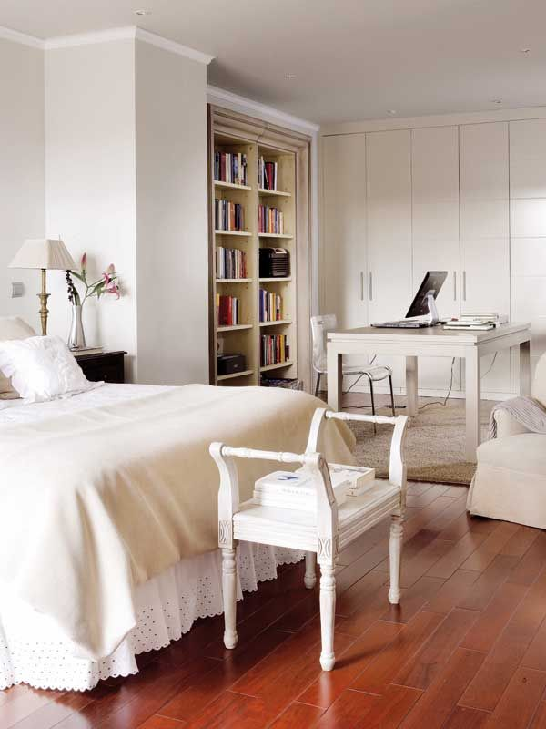 bedroom with work / study space - bookcases | HOME - Bedrooms ...