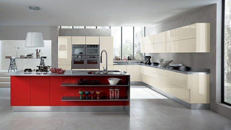 cuisine-rouge-grise-îlot-central-rouge-armoires-blanc-casse-peinture - Photo Cuisine Rouge Et Grise