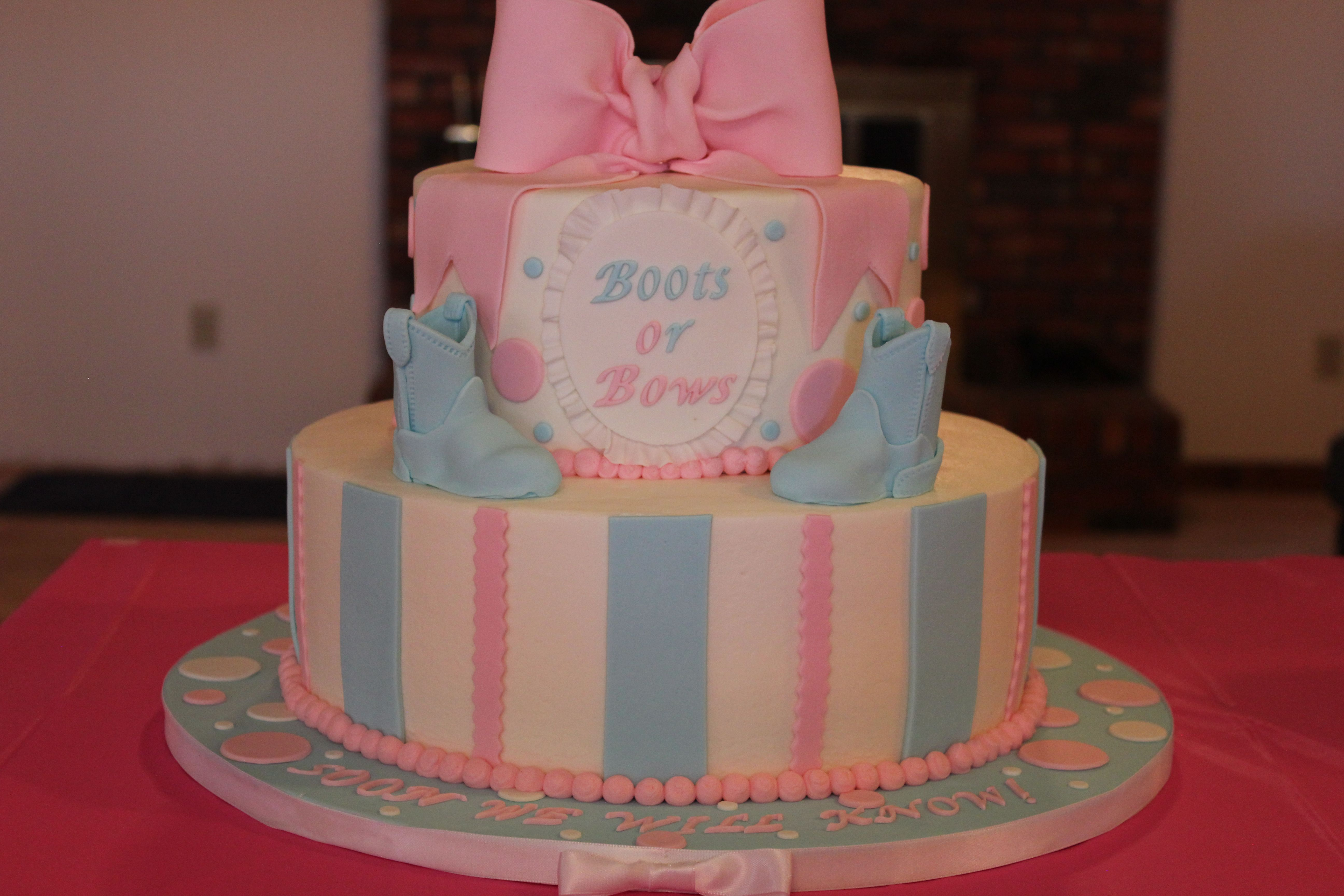 My First Gender Reveal Cake Boots Or Bows Soon We Will Know Gender Reveal Cake Gender Reveal Party Decorations Baby Gender Reveal Party