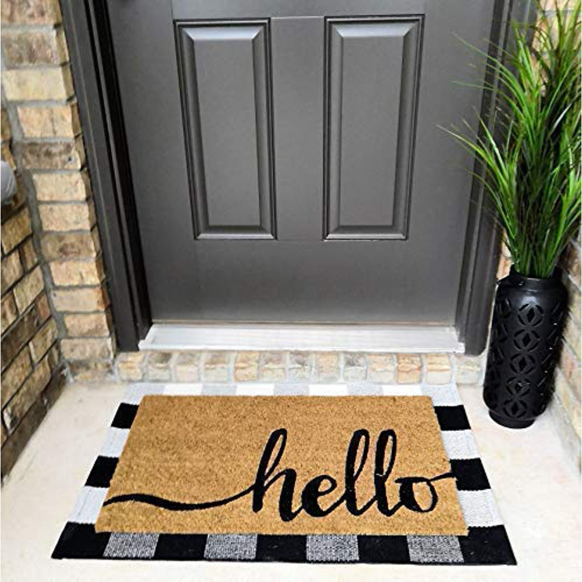 Cotton Buffalo Plaid Rugs Black And White Checkered Rug Welcome Door Mat 17 7 X27 5 Rug For Kitchen Carpet Bathroom Outdoor Porch Laundry Living Room Braided In 2020 Plaid Rug Buffalo Plaid Decor