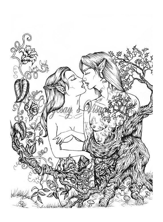 elven and treant romance coloring page by keyesay