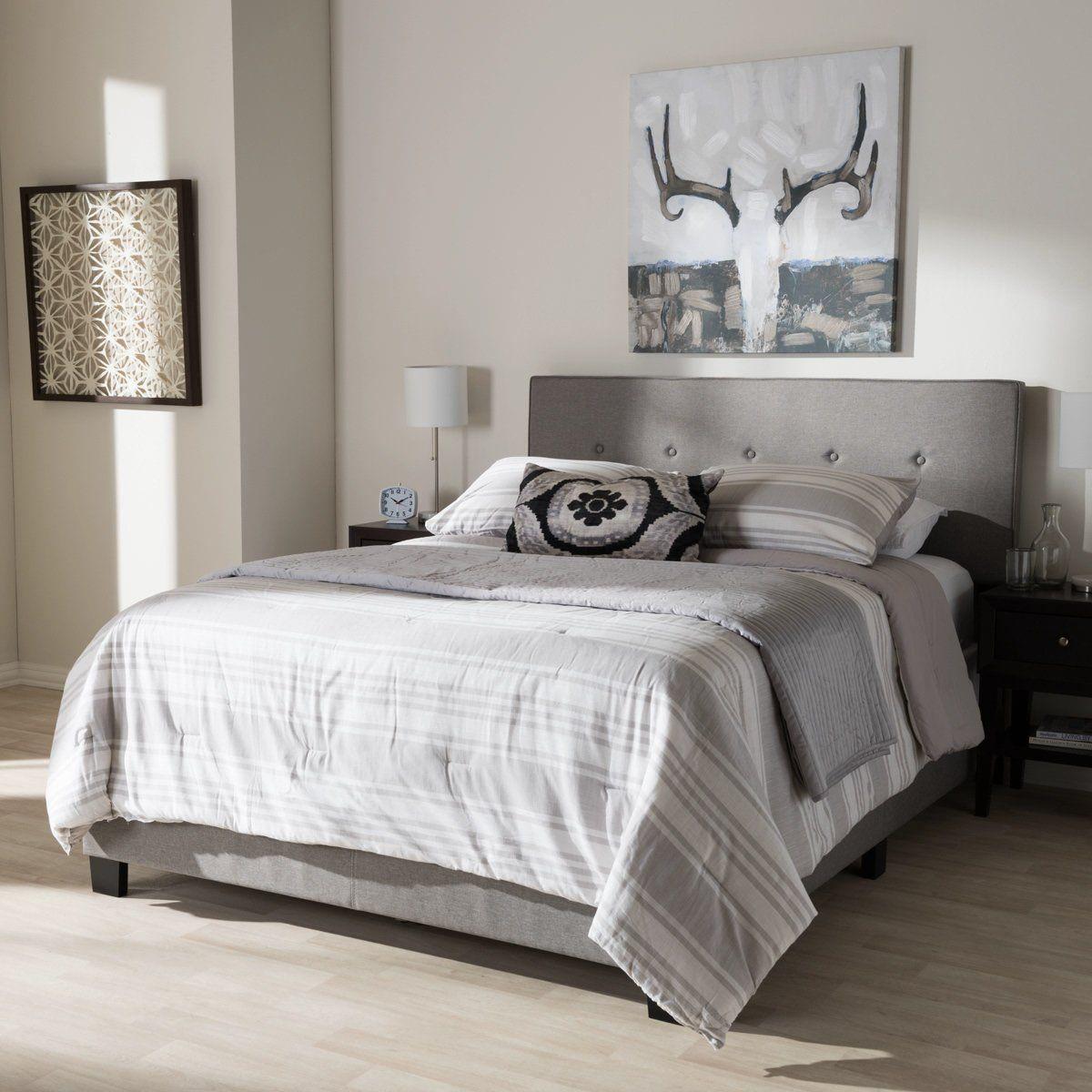 Best Baxton Studio Hampton Light Grey King Size Bed Products 640 x 480