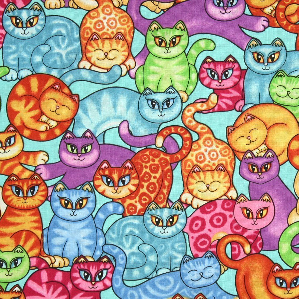 RJR Sew Catty Crowded Cats Blue Fabric Yardage Arts