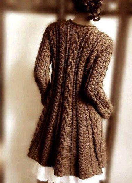 Gilet long laine marron femme