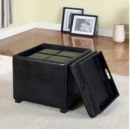 2 Pc Furniture Of America Adel Black Nesting Storage Ottomans Cm Bn6011bk Products Furniture Storage Ottoman
