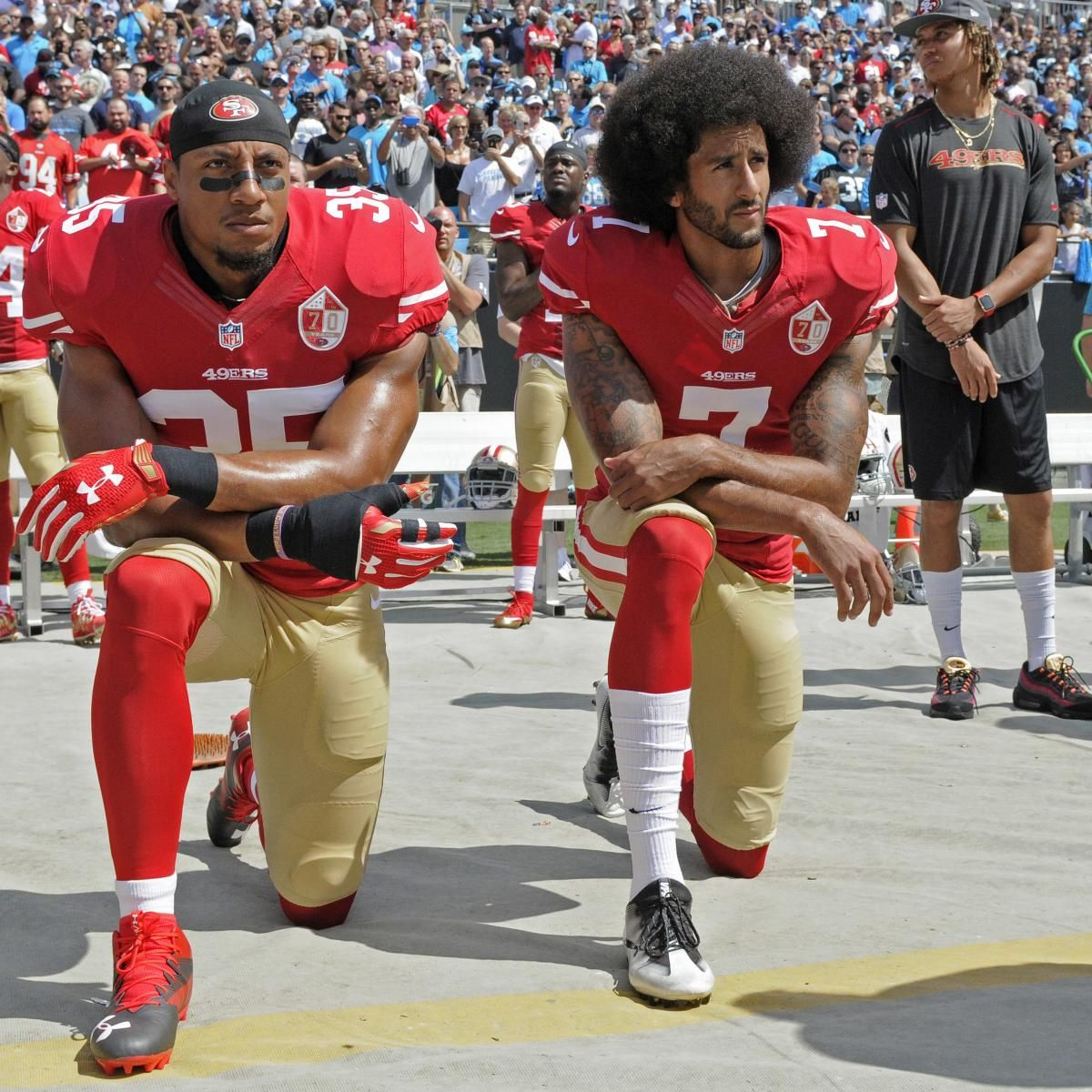 Colin Kaepernick Eric Reid Settle Grievances With Nfl In Collusion Case Colin Kaepernick Kaepernick Anthem Protest