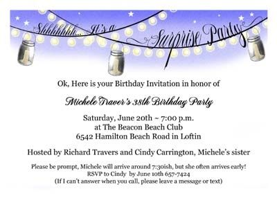 Unusual surprise birthday invitations with hanging banner Party