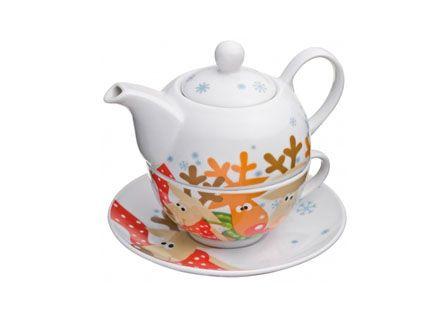 Porcelán rénszarvasos teáskanna