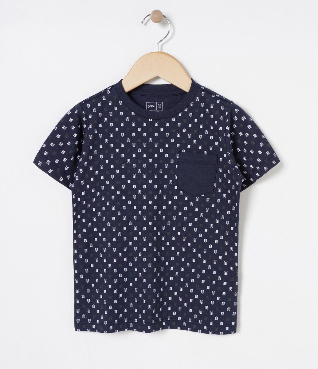 7d1f5415d Camiseta infantil Manga curta Gola redonda Estampada Com bolsinho Marca   Póim Tecido  meia malha