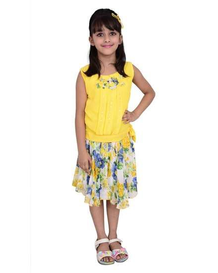 c4986c87b5f Buy Arshia Fashions girls skirts and tops - sleeveless - Party wear -  Yellow online shopping India