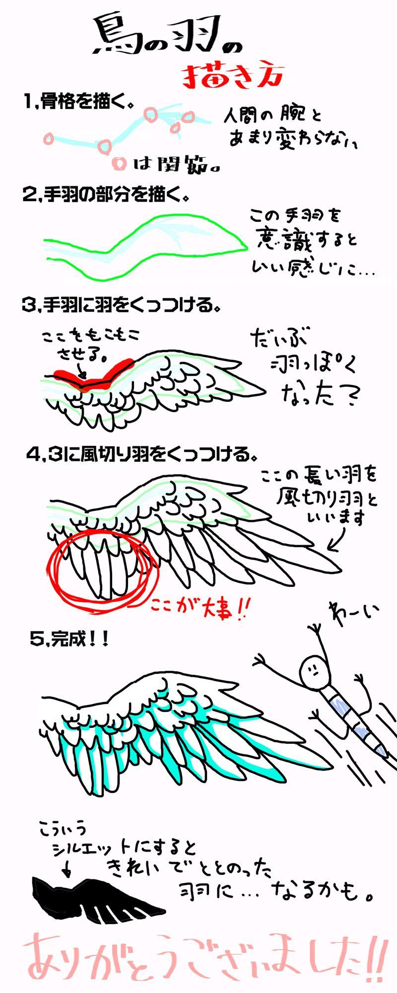 講座簡単鳥の羽の描き方 摩訶不思議日本 手绘2019 羽根