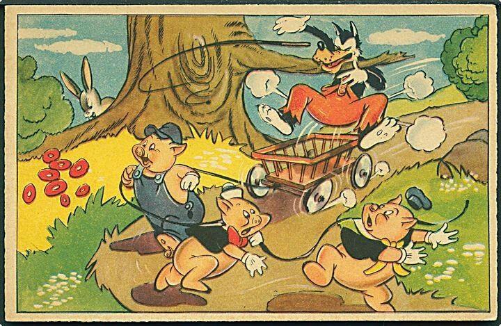 """1950 - USA - Ubrugt  Disney, Walt: """"De 3 små grise og Store Stygge Ulv"""". Mickey Mouse Corp. Serie 158. Kvalitet 8"""