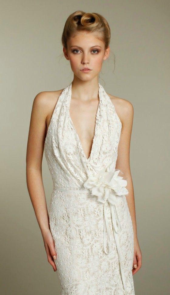 Beach Weddings Feminine Halter Lace Wedding Dress