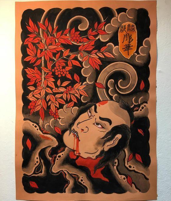 Nanten and namakubi @kirintattoo #kirintattoo #nanten #nandina #namakubi #japanesetattoo #japanesecollective #彫華: