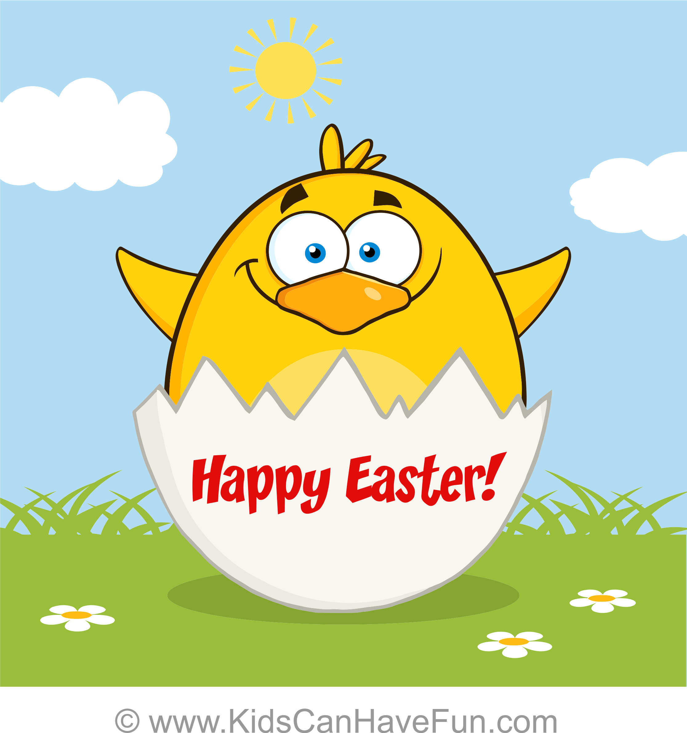 Free Happy Easter Yellow Chick Greeting Card 1 Blank Inside Http
