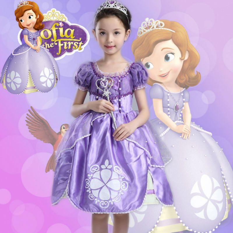 2016 new Retail 1piece girls dress princess sofia dress Fluffy girls ...