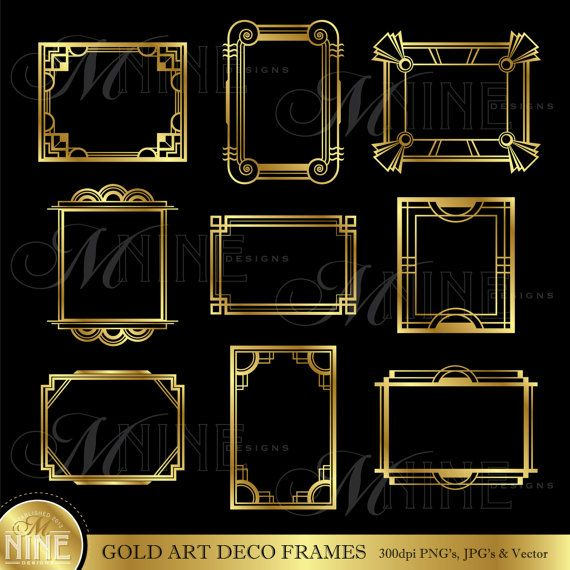 Gold ART DECO FRAME Clip Art: Art Deco Frames Design Elements Deco ...