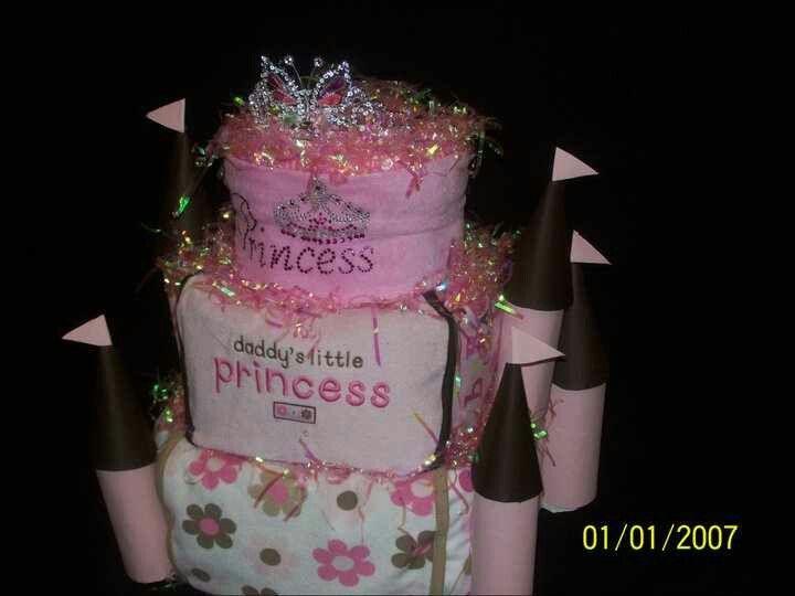 Girl princess castle diaper cake