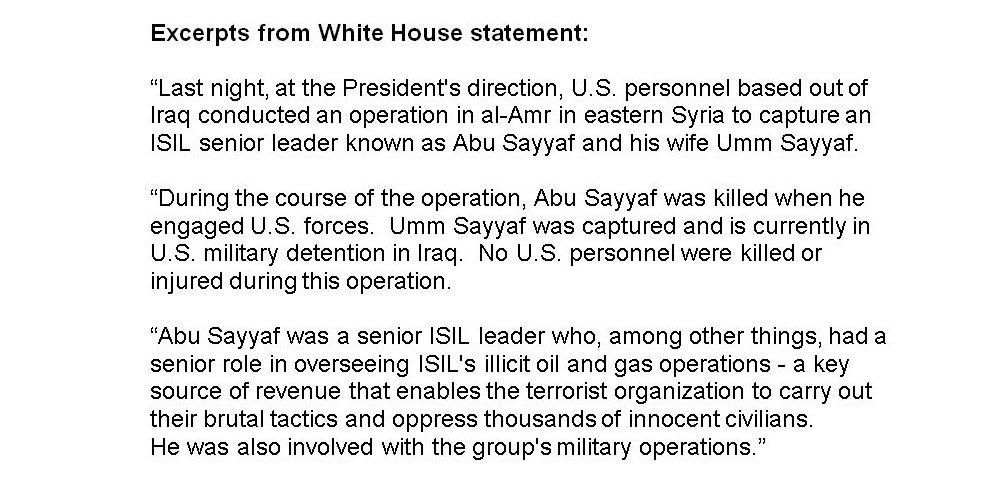 Islamic State militant Abu Sayyaf killed & wife captured in Syria operation, White House says http://bbc.in/1L90ERX