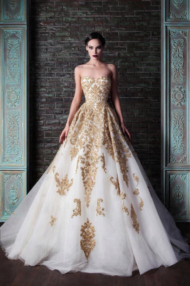 Tulle white ballgown with gold detailing | Wedding inspiration ...