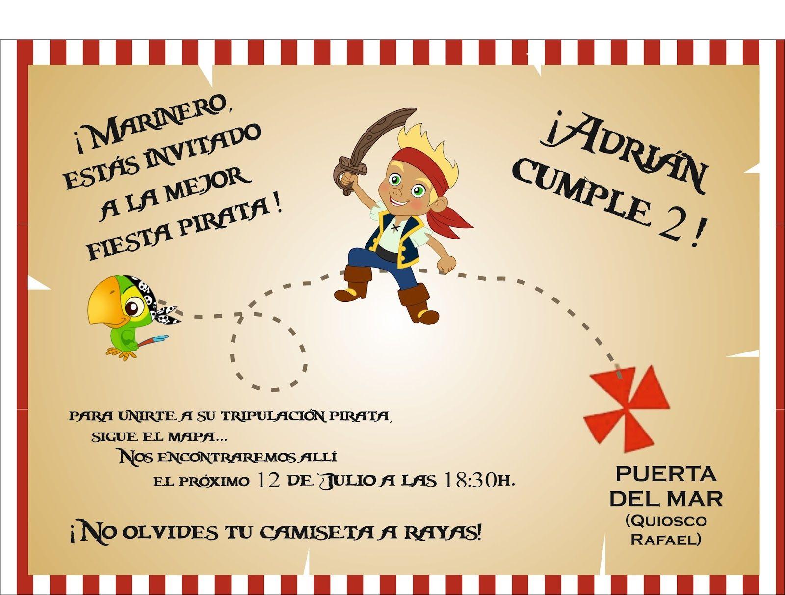 Tarjetas De Invitacion A Cumpleaños De Jake Y Los Piratas