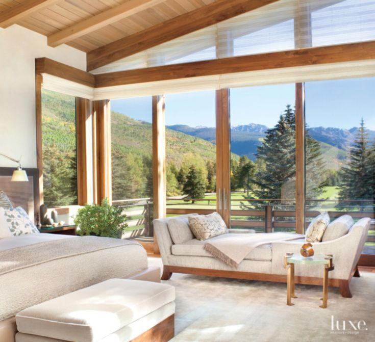 Neutral Mountain Master Bedroom With Chaise Lounge Mountain Home Interiors Modern Rustic Homes Rustic House