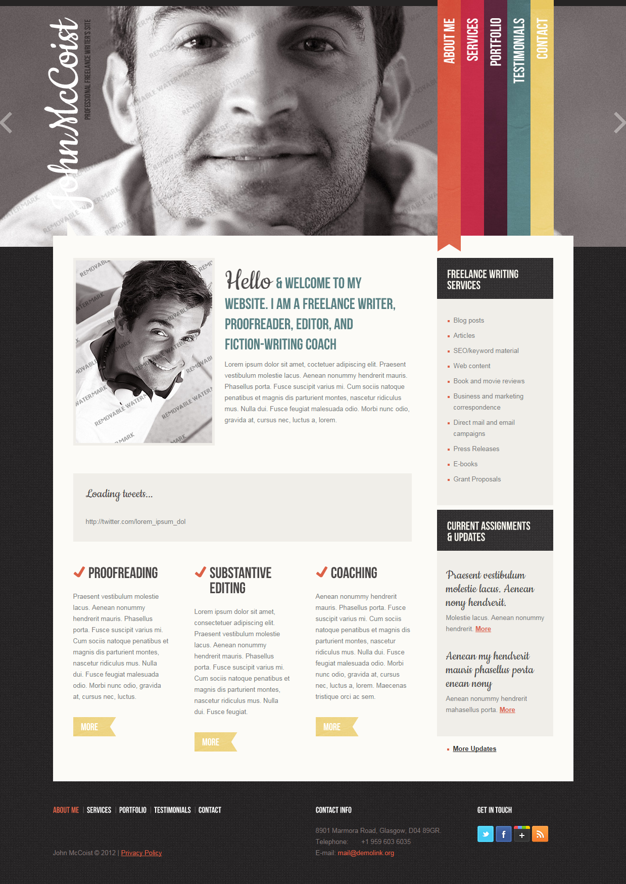 Freelance Writer Personal Website Templates Personal Website Templates Website Template Design Web App Design