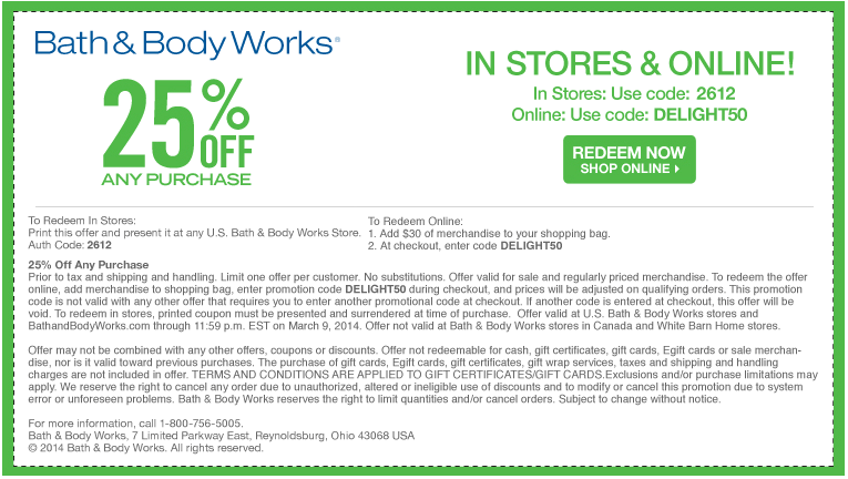 Pinned March 6th 25 Off At Bath Body Works Or Online Via Promo Code Delight50 Coupons Via T Bath And Body Works Free Printable Coupons Printable Coupons