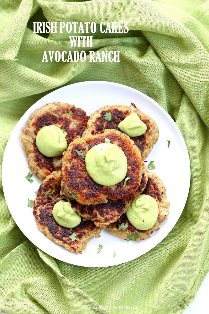 Traditional Irish potato cakes known as boxty, made eggless and vegan. Serve with avocado basil garlic ranch dressing. Vegan Soyfree Recipe
