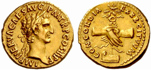 Roman aureus struck under Nerva, c. 97. The reverse reads Concordia Exercituum, symbolyzing the unity between the emperor and the Roman army with two clasped hands over an army standard.