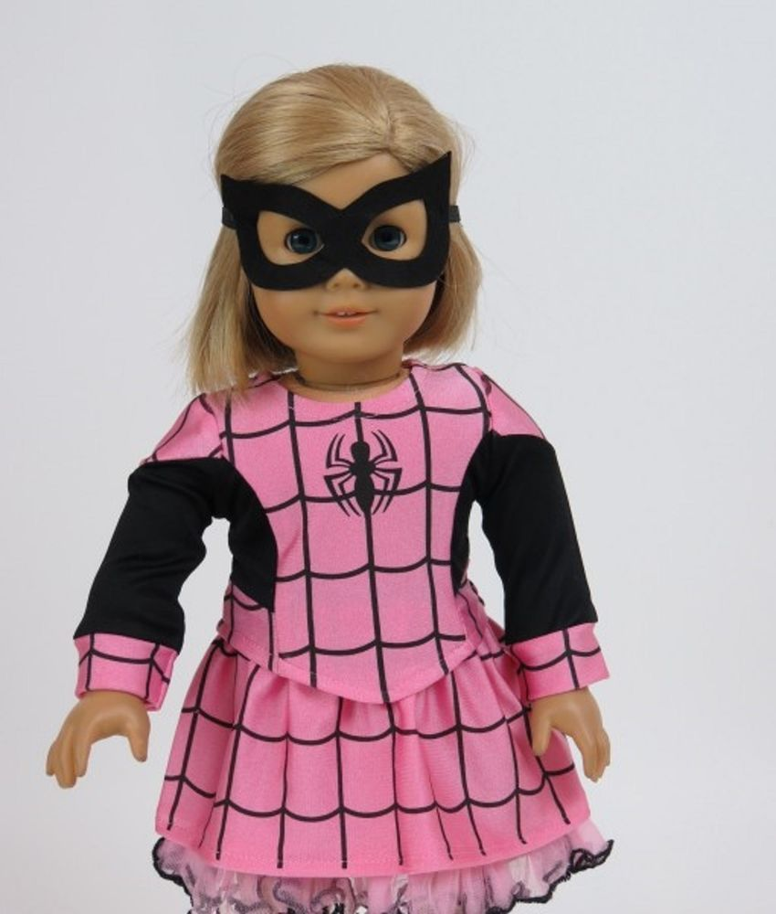 3-piece SPIDER GIRL Pink//Black COSTUME includes Eye Mask fits Magic Attic Club